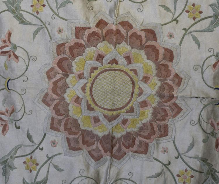 Chinese silk  bed cover embroidered in satin stitc