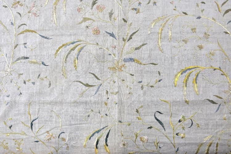 India 18th C, am embroidered fabric panel, finely