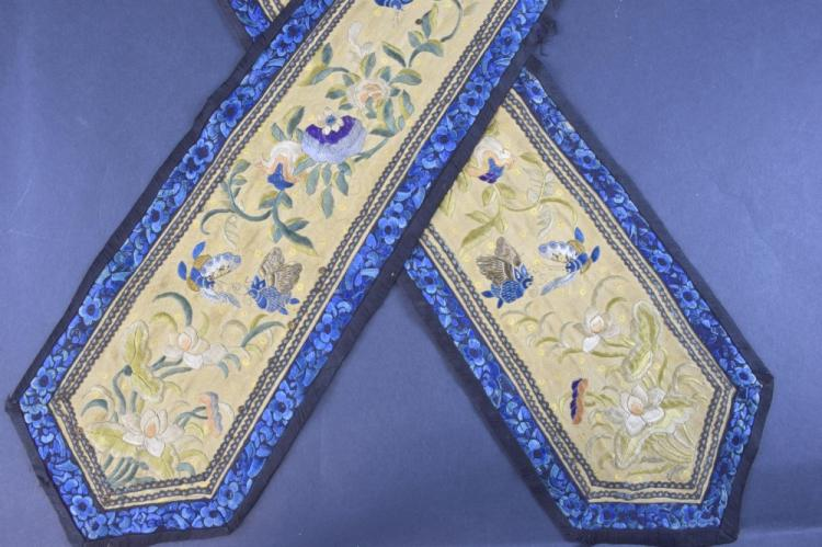 Chinese embroidered panels, on gold silk with des