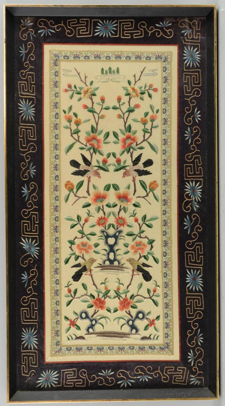 Chinese embroidered panel 66cm x 33cm