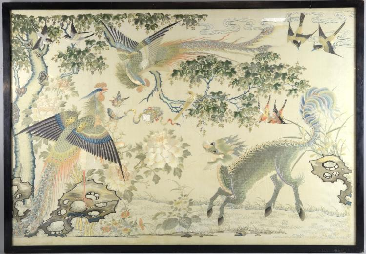 Chinese silkwork picture finely embroidered with t