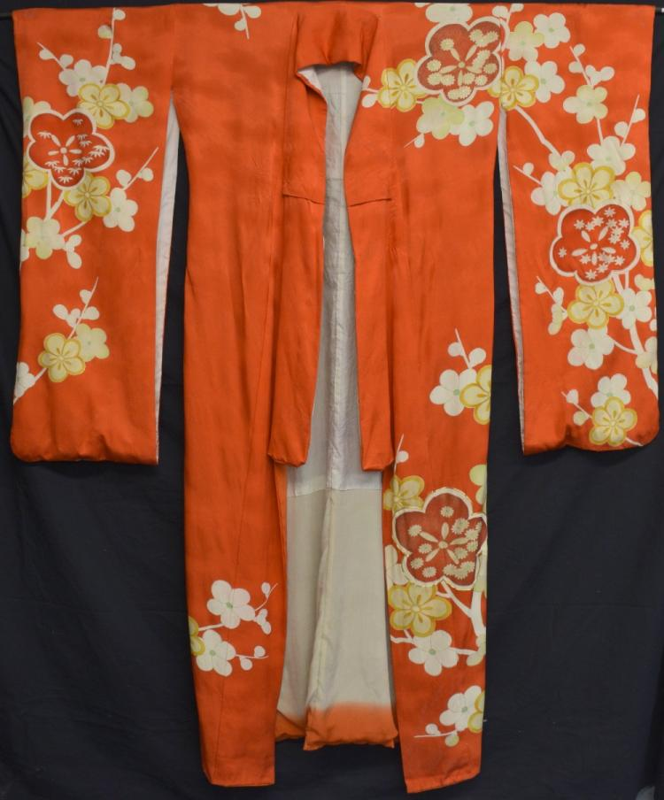 Japanese Kimono orange ground with yellow and whit