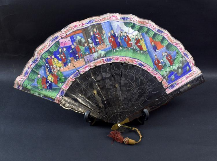 A group of antique fans, including a Chinese lacqu