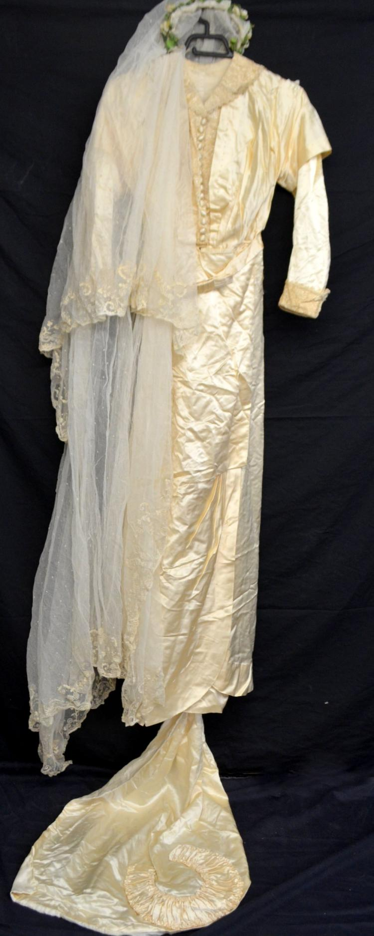 Edwardian silk wedding dress, embroidered  net ful