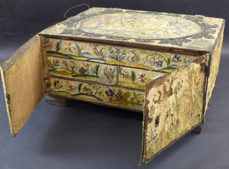 17th Century stumpwork and embroidered box, with