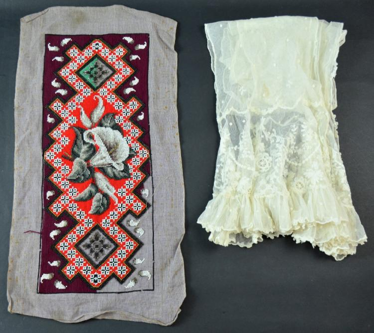 Late 19th century tambour lace stole  and an unfin