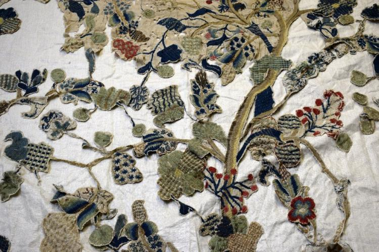 Jacobean style crewel work, worked in wool, with l
