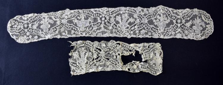 Fine Flemish lace 17th -18th C, lappet form but u