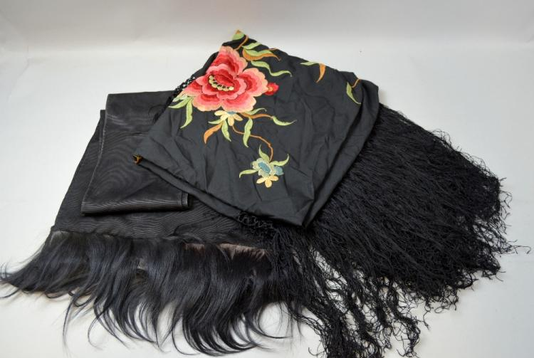 1920's Spanish shawl, black silk with large colour
