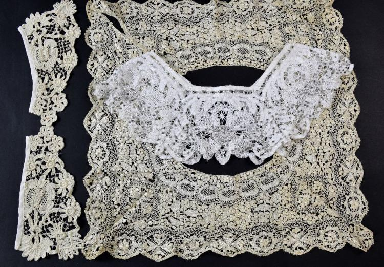 A group of 19th C  lace to include a Maltese lace