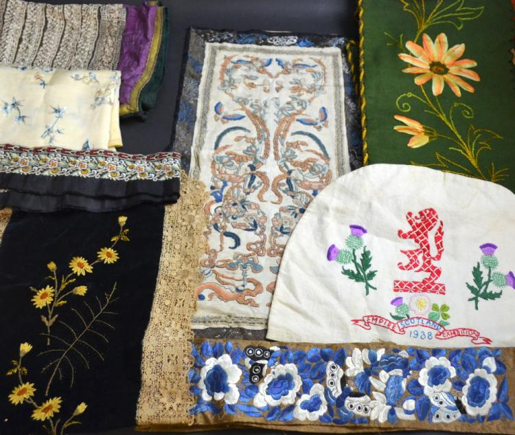 Group of antique embroidered items to include a Pa