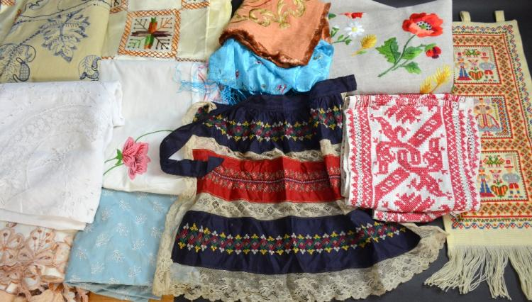 Group of vintage embroidered items to include, a l