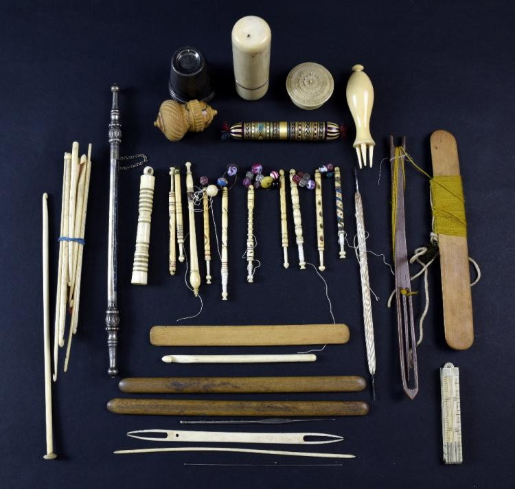 Collection of sewing implements including eight la