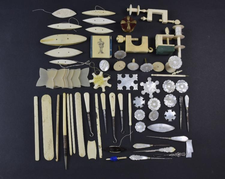 Collection of sewing items including mother of pea