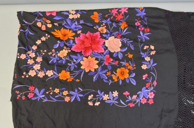 Large black silk shawl, with polychrome decoration