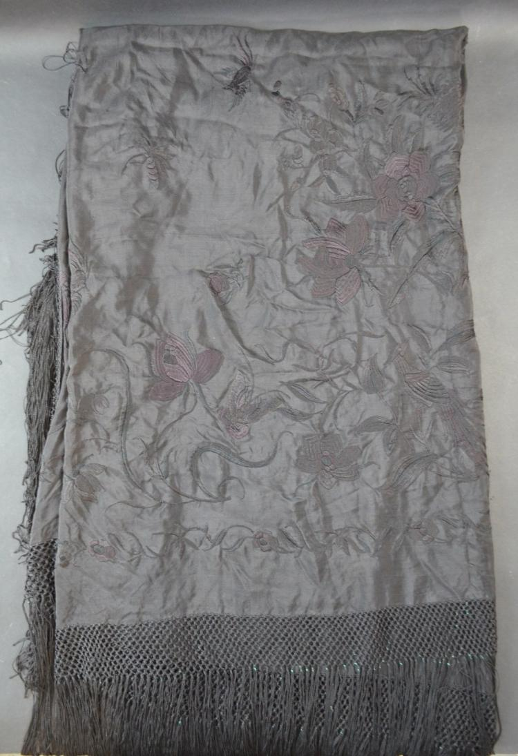 Black  shawl embroidered with flowers with deep ta
