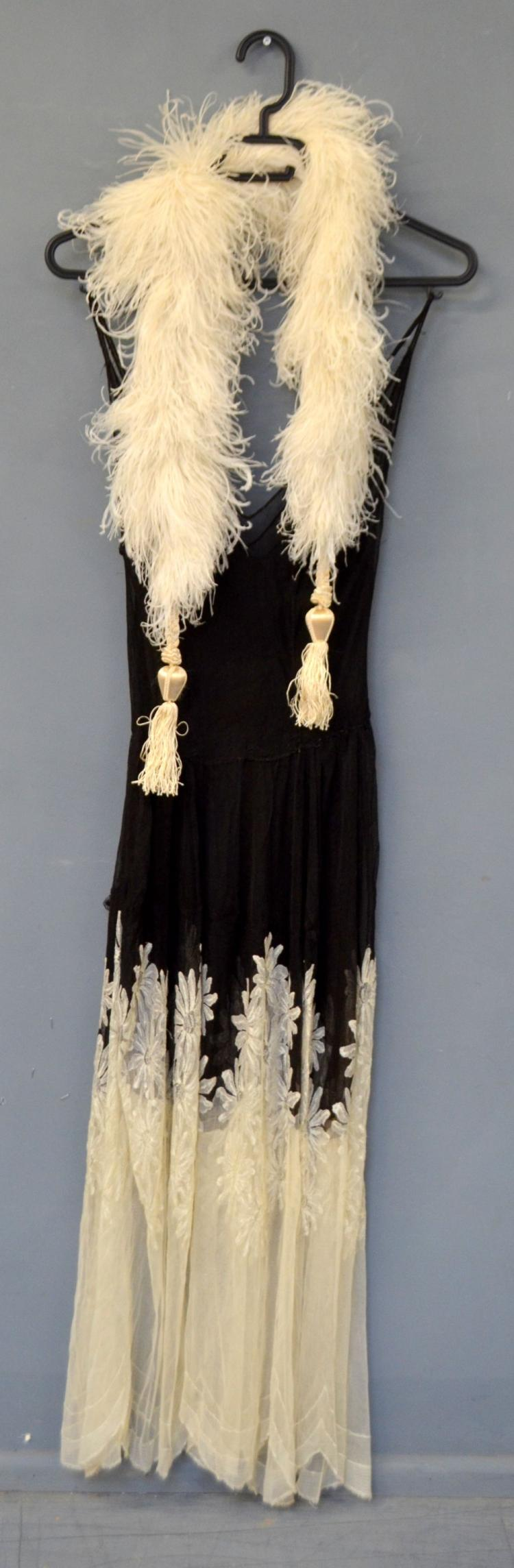 1930's dress of cream and black lace with daisy de