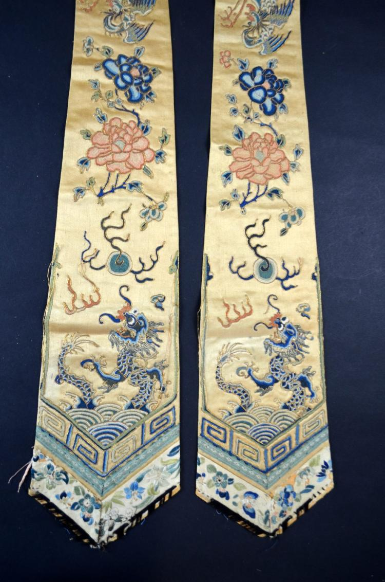 Pair of Chinese yellow silk  panels finely worked
