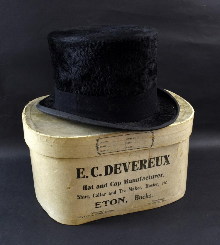 E. C. Devereux plush black top hat with wax seals