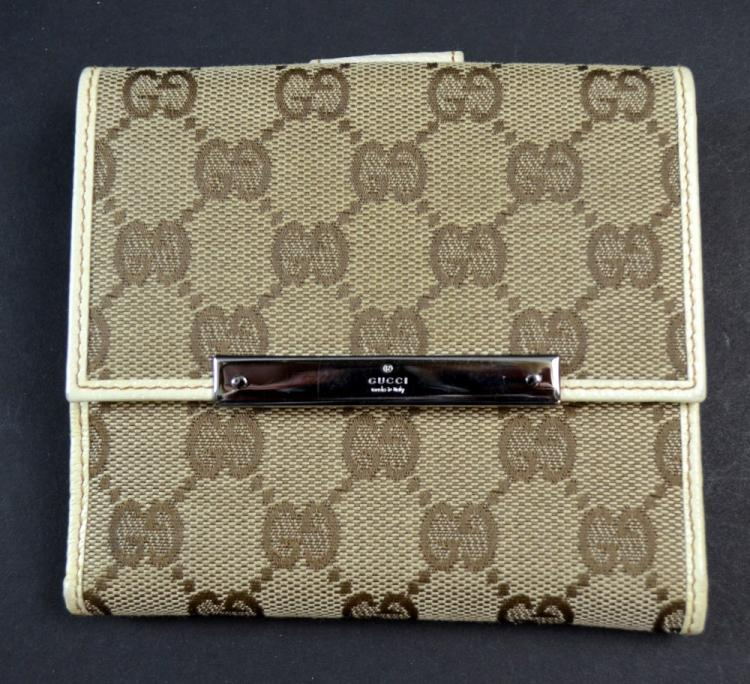 Gucci monogram French flap wallet, canvas and whit