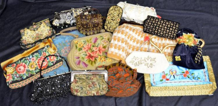 Sixteen decorative vintage bags, 1930's damask and