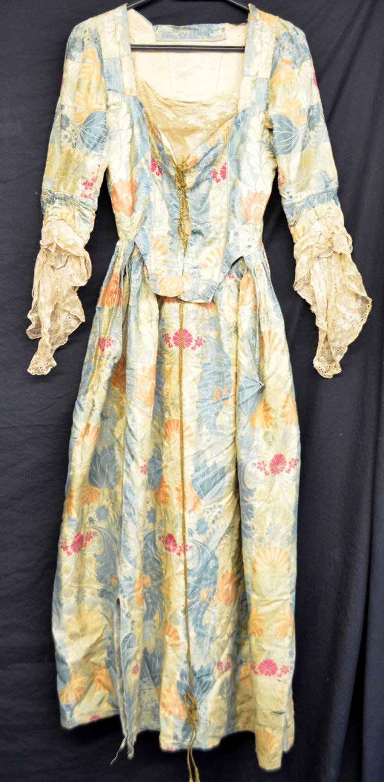 18th Century silk dress,  with bold pattern of lea