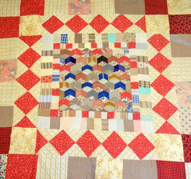 19th C patchwork quilt, the centre with tumbling b