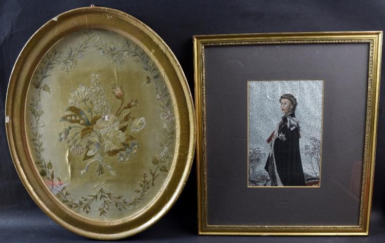 Georgian floral silkwork in an oval frame, 37 x 3