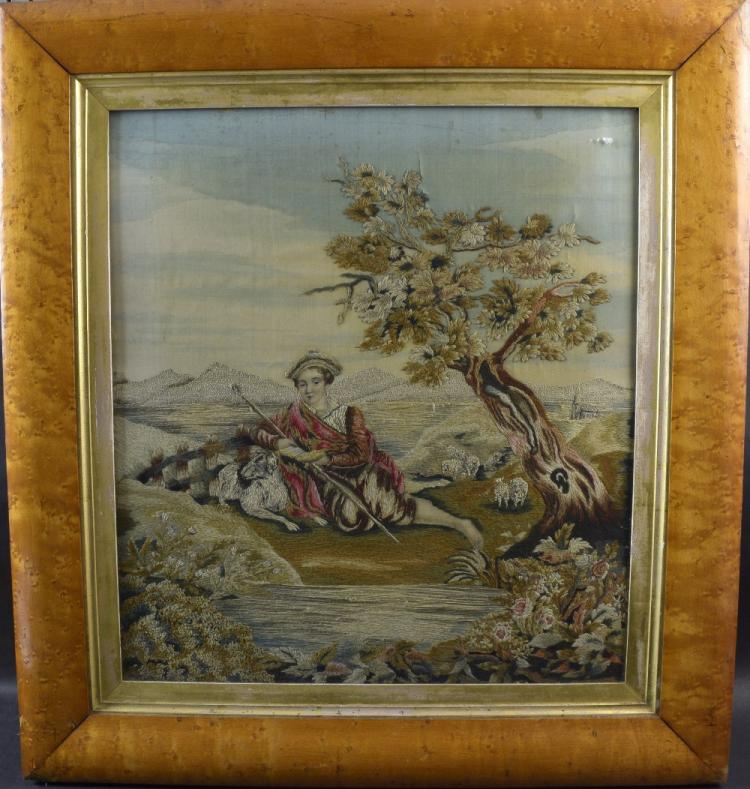 Georgian silkwork  depicting a Scottish shepherd