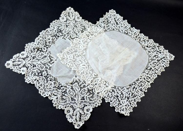 Honiton lace trimmed handkerchief and similar lace