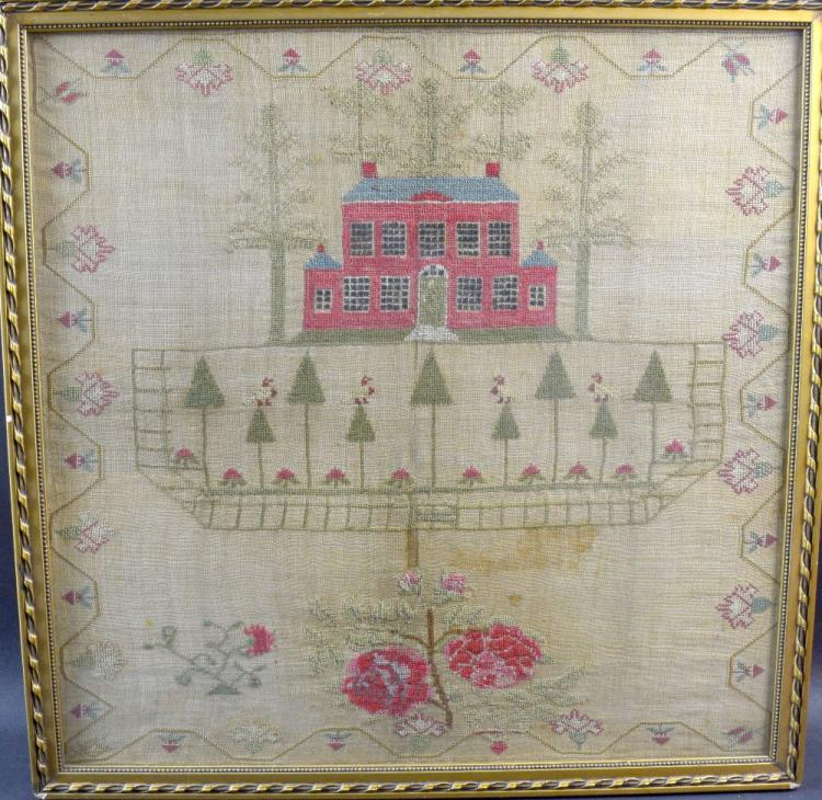 19th century sampler depicting a country house, 42