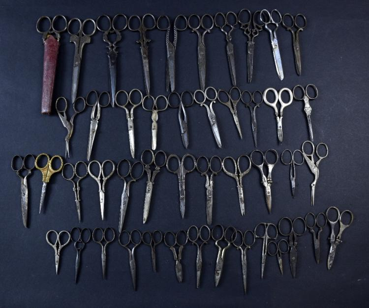 Large collection of sewing scissors, mainly 19th C