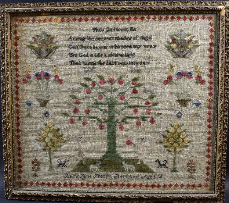 Early 19th C Adam and Eve sampler with central tre