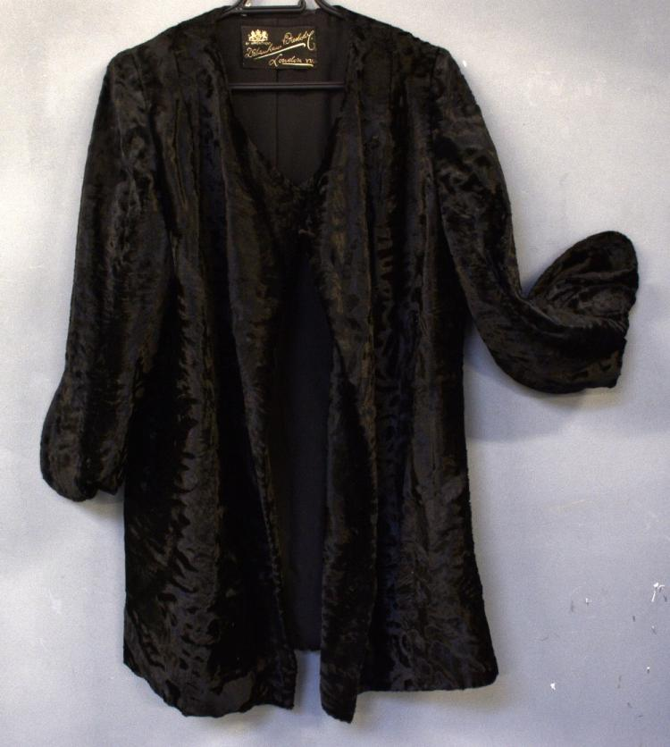 Debenham and Freebody patterned velvet coat, a b