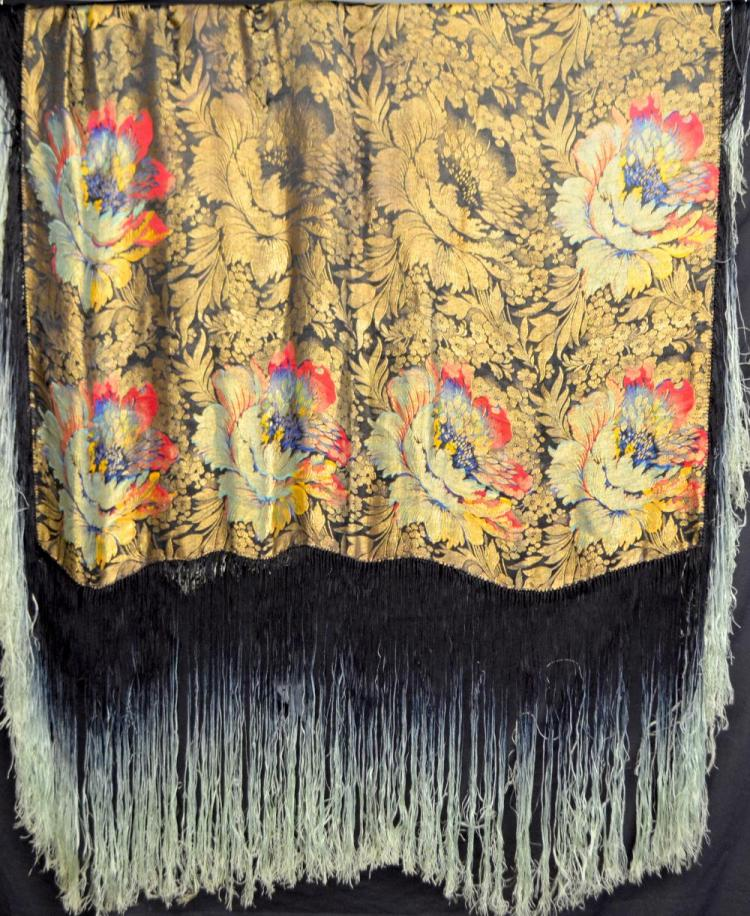 Shawl brocaded with gold and bold flowers and dee