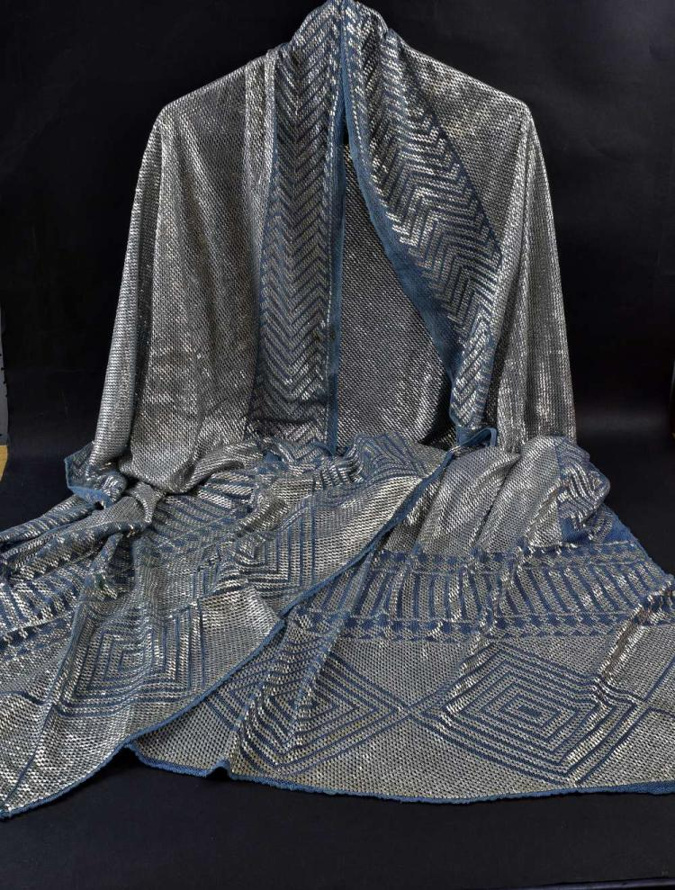 An Art Deco Assuit  shawl of silver thread on blue