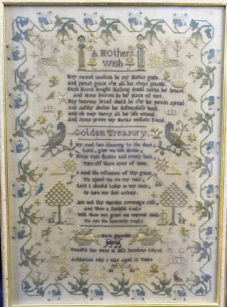 George IV needlework Poetry sampler, A Mothers Wis