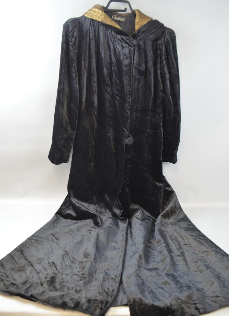 Black velvet evening coat  by 'Channel model ' fu