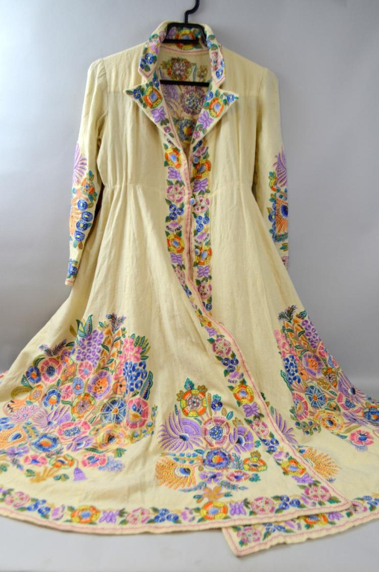 Northern India C 1900 embroidered wool coat, prob