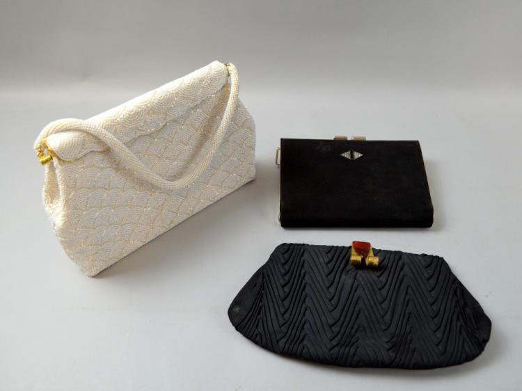 An Art Deco antelope skin clutch bag with diamante