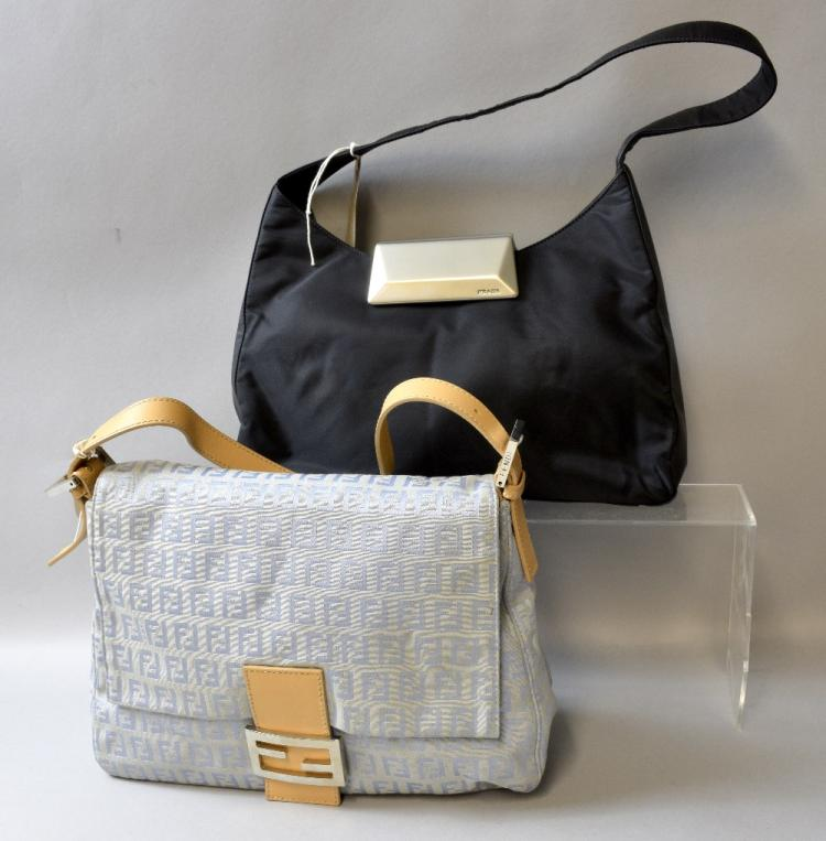 Prada black nylon handbag and Fendi canvas and lea