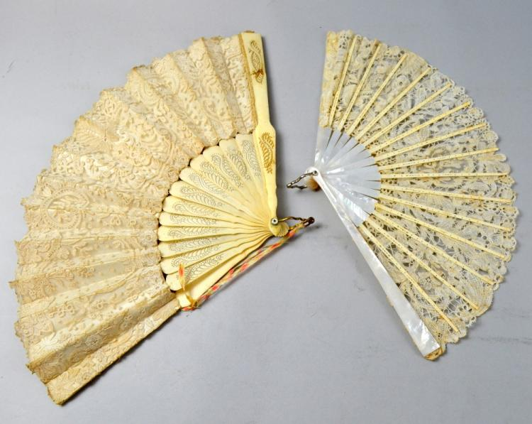 Two 19th C  lace fans one with mother of pearl sti