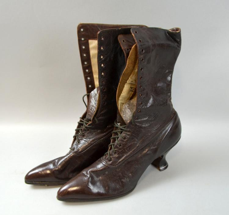 Pair of early 20th C lady's boots, labelled  New-A