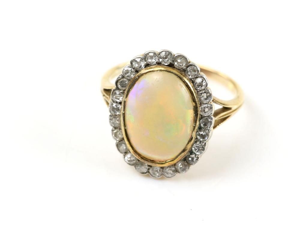 Early 20th C Opal And Diamond Cluster Ring Oval C