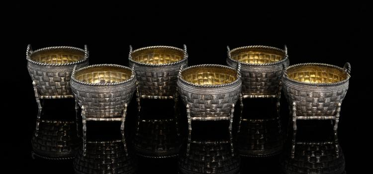 Set of six Chinese silver salts of woven basket fo