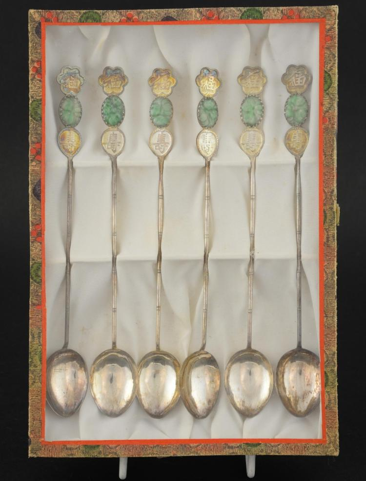 Set of six Chinese silver cocktail spoons with gre
