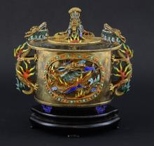 Modern Chinese silver gilt and enamelled vase and
