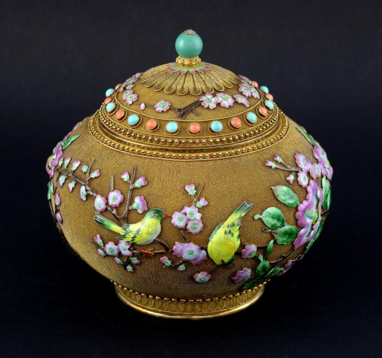 Modern Chinese silver gilt metal and enamelled vas