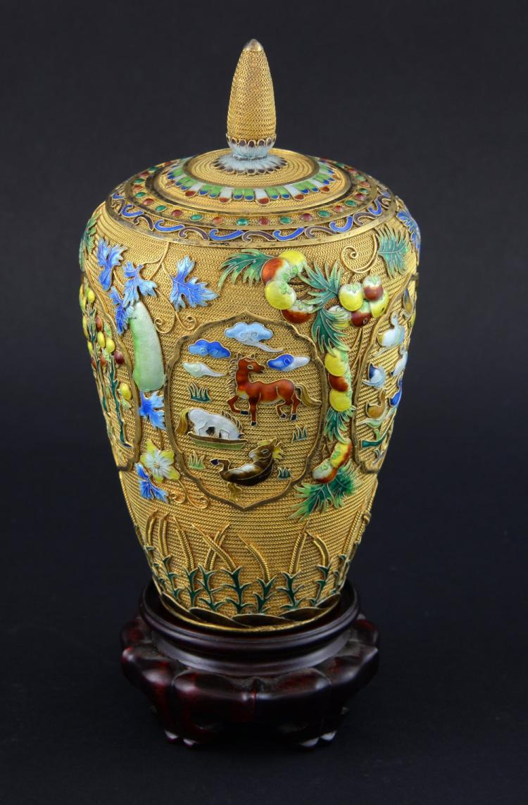 Modern Chinese silver gilt and overlaid enamel vas