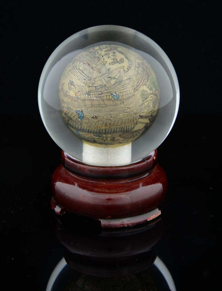 Modern Chinese interior painted glass sphere with